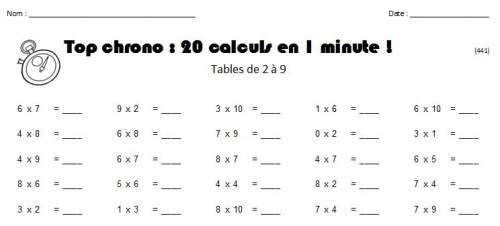 G n rateurs de tests de tables charivari l 39 cole - Table de multiplication exercice ce1 ...