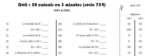 Calcul mental d fi ce charivari l 39 cole - Calcul mental table de multiplication ...