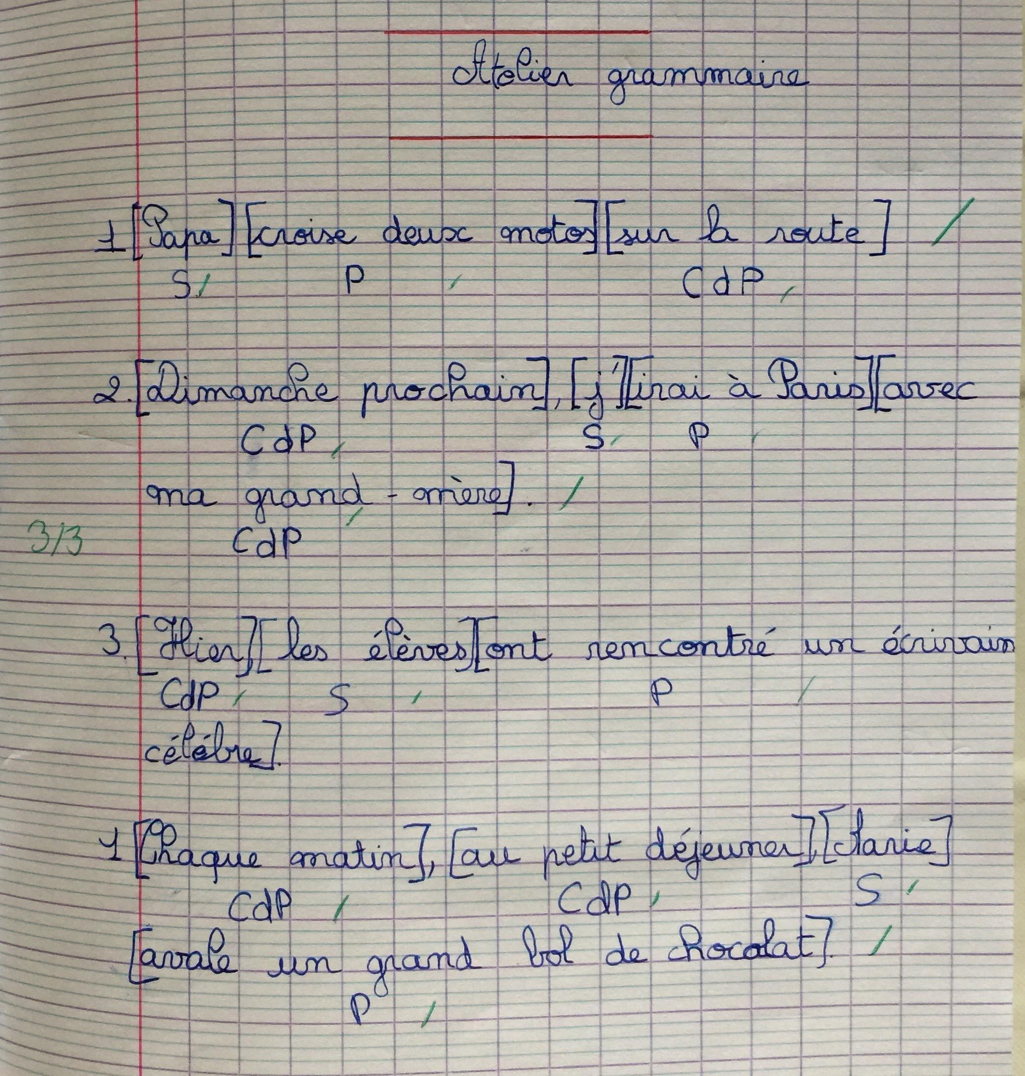 atelier de grammaire prédicat ceinture vert foncé