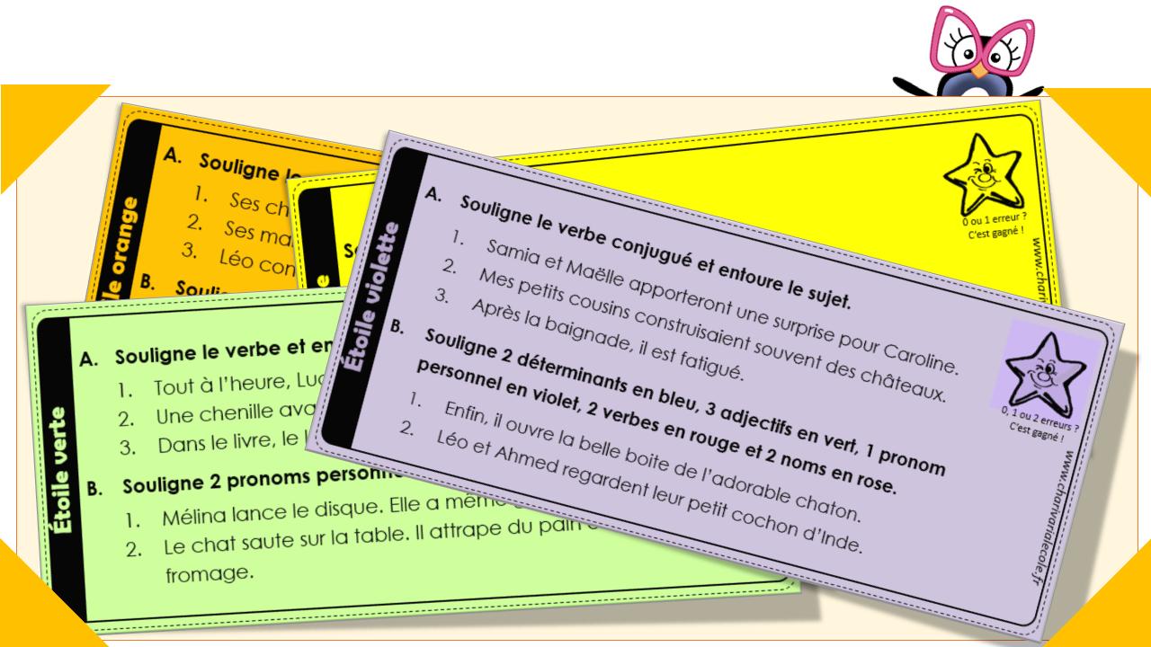 Les Etoiles De Grammaire Pour Les Ce1 Ce2 Charivari A L Ecole